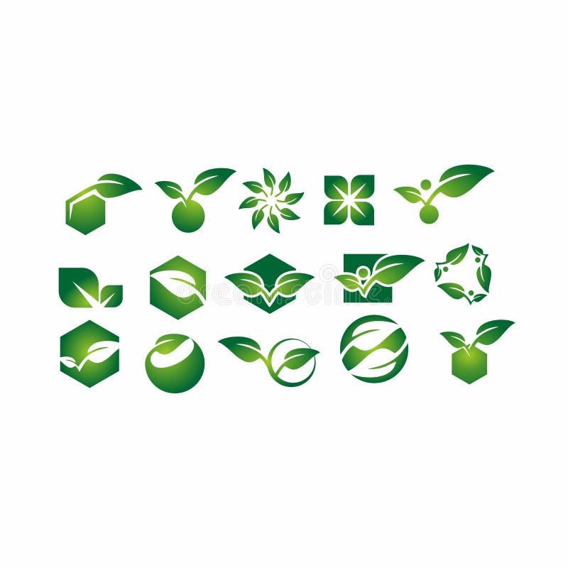 Bladet växten, logoen, ekologi, folket, wellnessen, gräsplan, sidor, uppsättning för natursymbolsymbol av vektorn planlägger royaltyfri illustrationer
