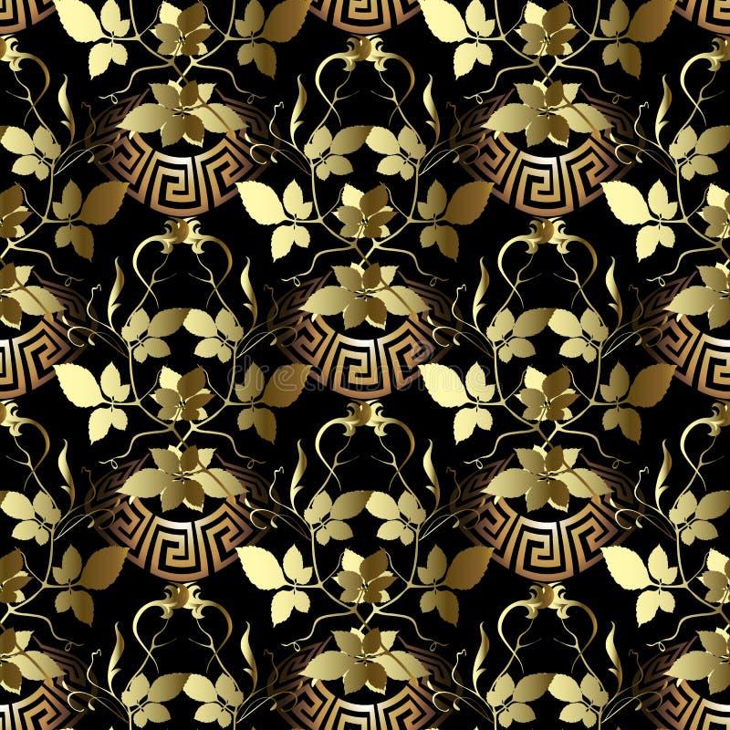 Bladgouden 3d Grieks vector naadloos patroon Sier bladluxeachtergrond Bloemen gouden bloemen, bladeren, takken, installaties stock illustratie