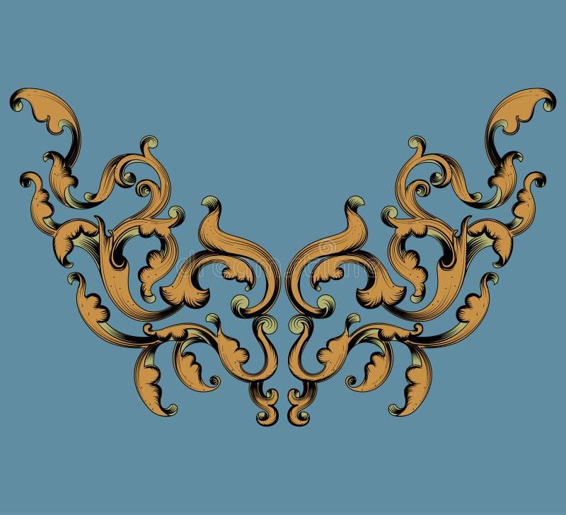 Bladgoudpatroon op een blauwe achtergrond stock illustratie