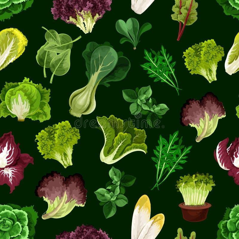 Bladgrönsaken, sallad gör grön den sömlösa modellen stock illustrationer