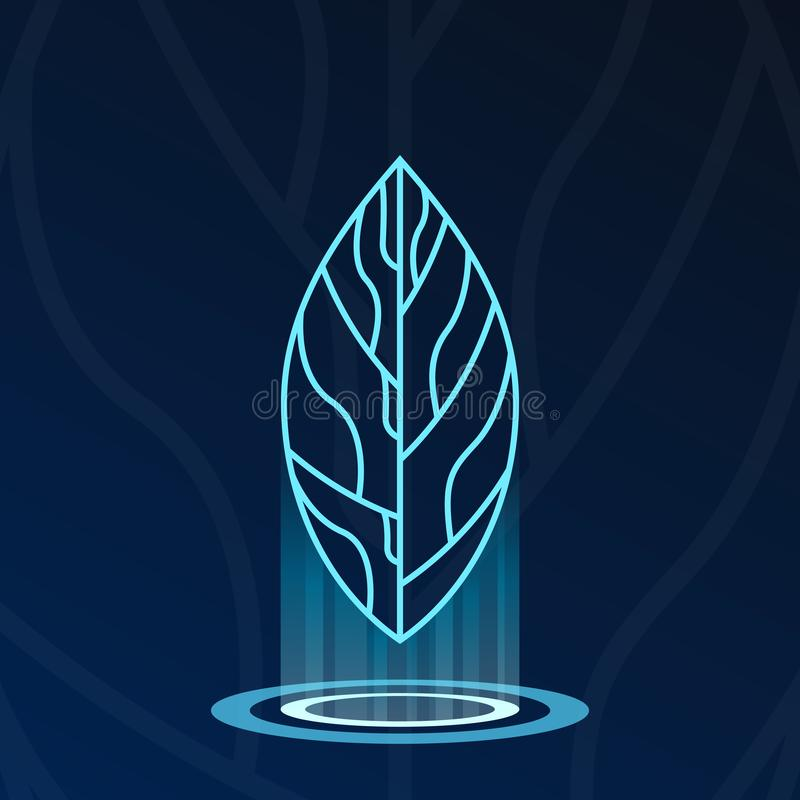 Bladhologram met lichten logotype royalty-vrije illustratie