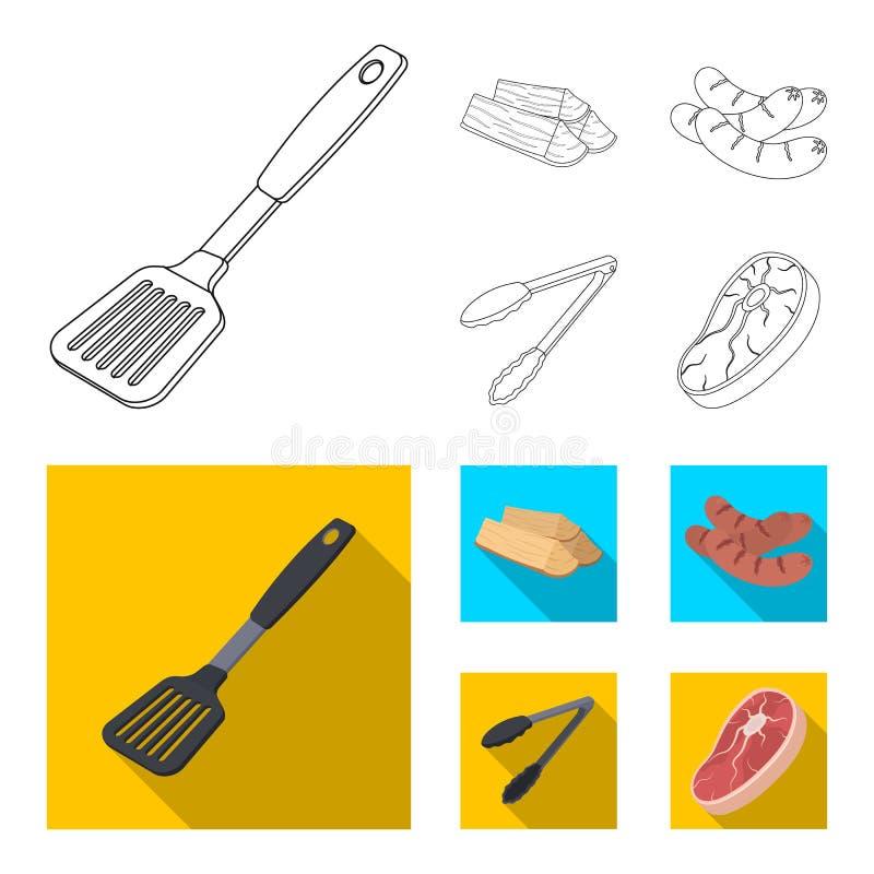 Bladkök, vedträ, korvar och annan för grillfest BBQ ställde in samlingssymboler i översikten, symbol för lägenhetstilvektor vektor illustrationer