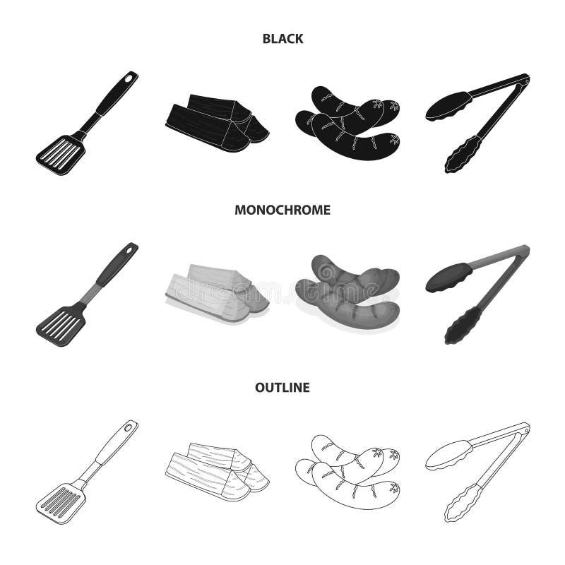 Bladkök, vedträ, korvar och annan för grillfest BBQ ställde in samlingssymboler i svart, monokrom, översiktsstil stock illustrationer
