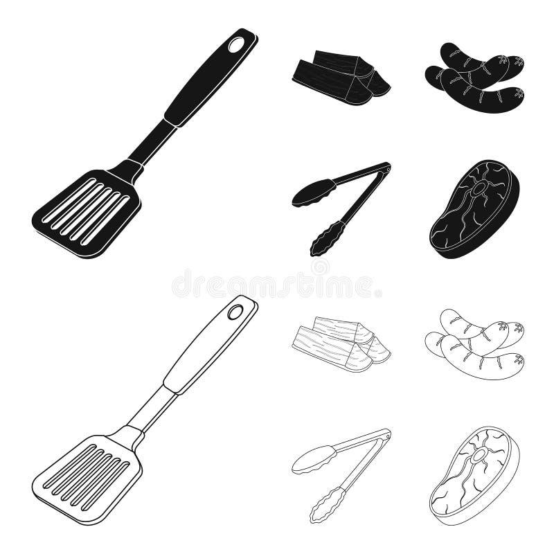 Bladkök, vedträ, korvar och annan för grillfest BBQ ställde in samlingssymboler i svart, symbol för översiktsstilvektor royaltyfri illustrationer