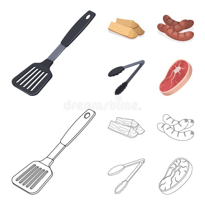 Bladkök, vedträ, korvar och annan för grillfest BBQ ställde in samlingssymboler i tecknade filmen, symbol för översiktsstilvektor stock illustrationer
