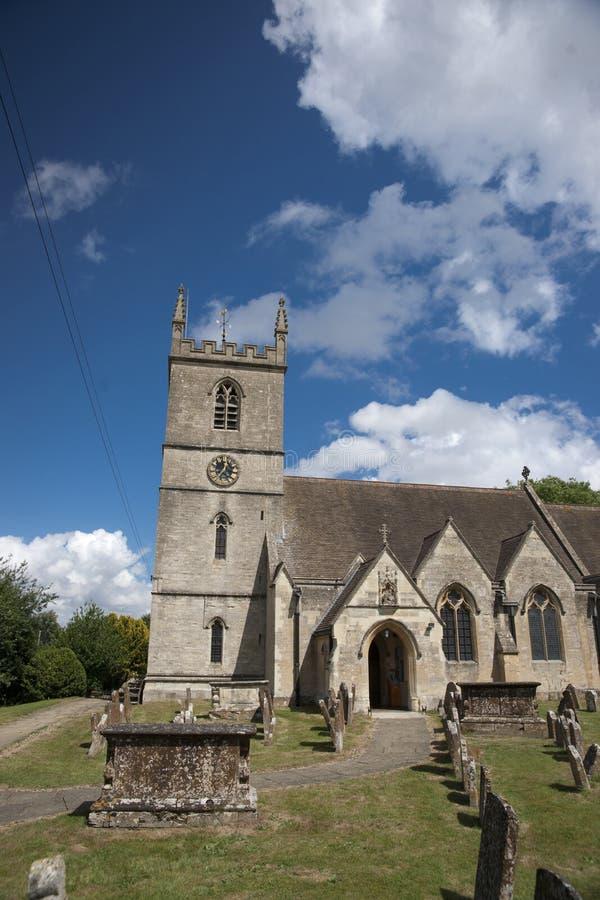Bladon,伍德斯托克,英国,教会7月2013年,圣Martins温斯顿・丘吉尔先生埋葬地方  免版税库存图片