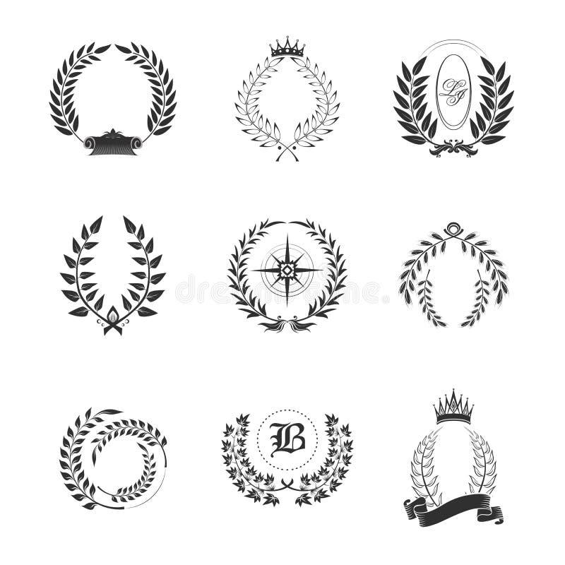 Bladprydnader för generiskt eller stam-, familjtecken royaltyfri illustrationer