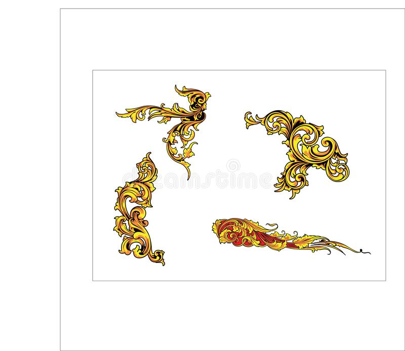 Bladsnirkeln för den blom- prydnaden inristade retro dekorativ design för blommamodell vektor illustrationer