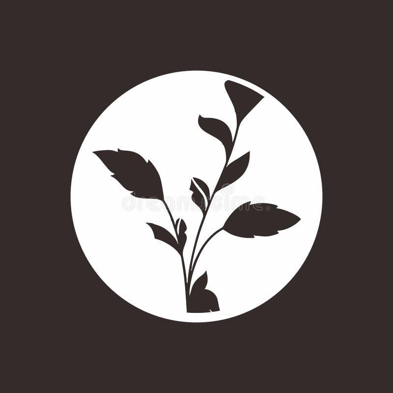 Bladsymbol med svartrundan för branschvitbakgrund stock illustrationer