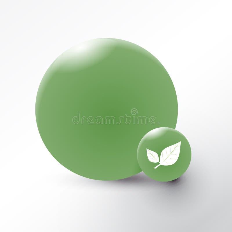 Bladsymbol på grön cirkelbakgrund stock illustrationer