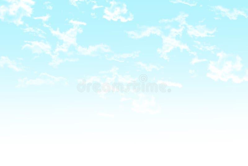 Blady nieba błękita fading w biel z puszystymi chmurami royalty ilustracja