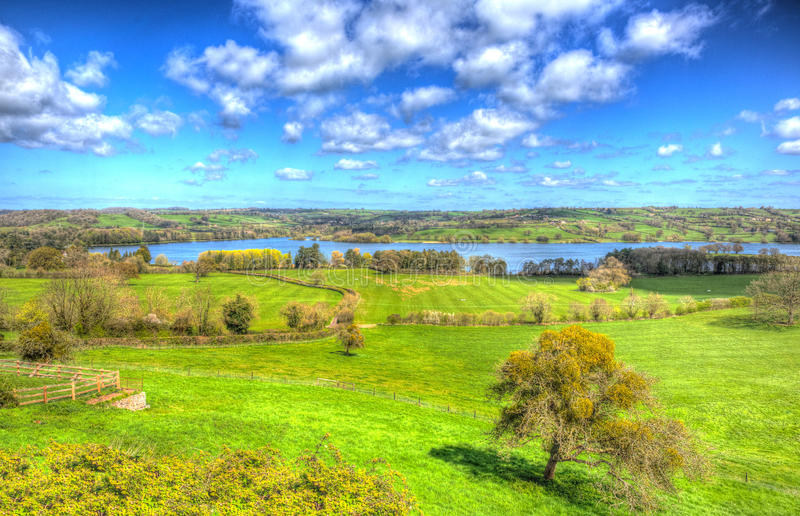 Blagdon Lake Somerset south of Bristol like painting in HDR. Blagdon Lake Somerset in Chew Valley at the edge of the Mendip Hills south of Bristol in bright stock photography