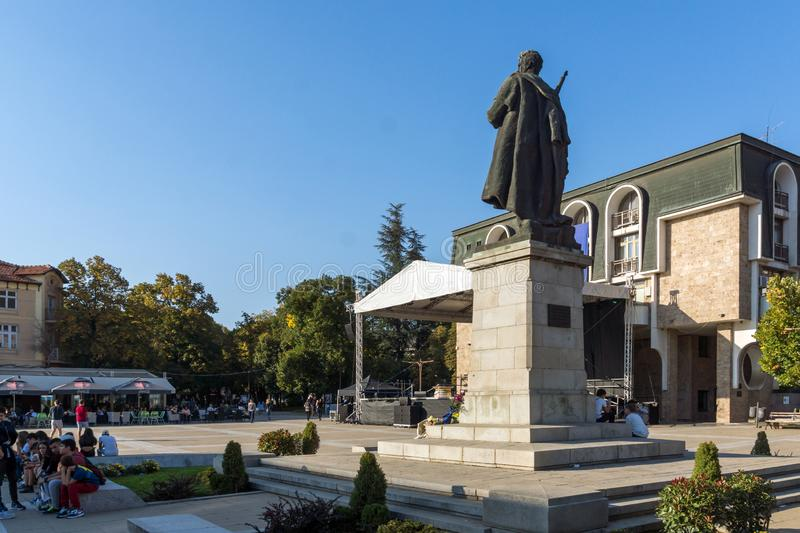 Gotse Delchev monument at The Center of town of Blagoevgrad, Bulgaria royalty free stock images