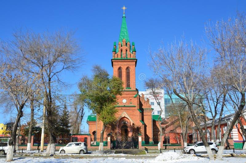 BLAGOVESHCHENSK Kyrkan av ärkeängeln Gabriel och den annan bodiless överheten av himmel arkivbilder
