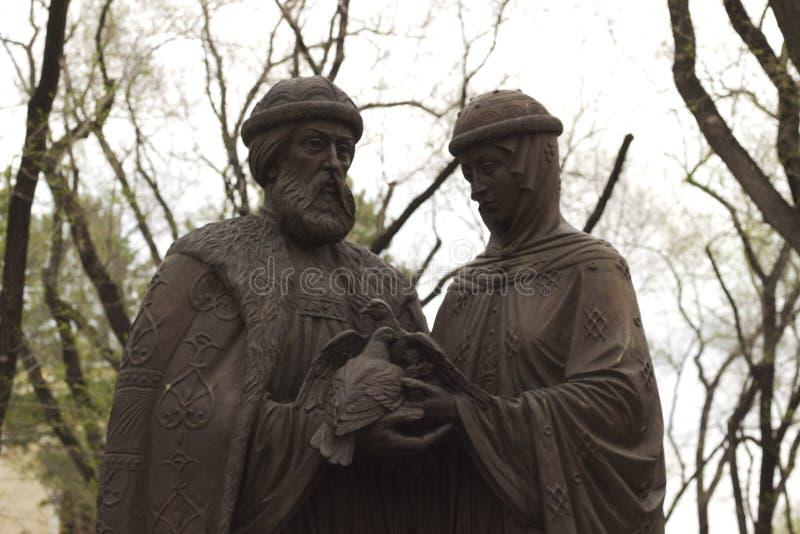 Blagoveshchensk, Russie, monument à Pyotr et à Fevronia image stock