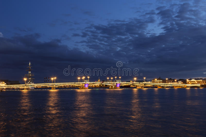 The Blagoveshchensky (Annunciation) Bridge during the White Nights in St. Petersburg, stock photos
