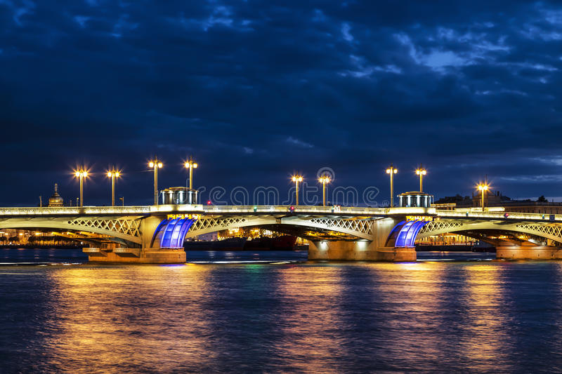 The Blagoveshchensky (Annunciation) Bridge during the White Nights in St. Petersburg,. Russia royalty free stock photo