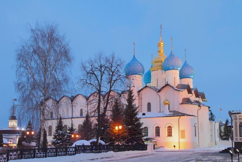 Blagoveshchensky katedra w Stycznia wieczór kazan Russia obraz royalty free