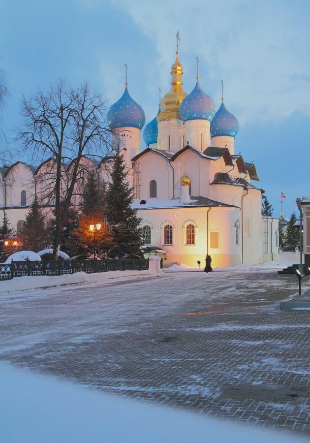 Blagoveshchensky katedra w wieczór w Styczniu kazan Russia zdjęcia royalty free