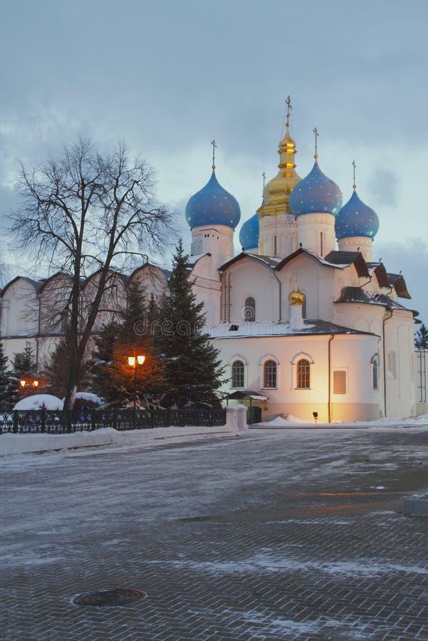 Blagoveshchensky katedra w zima wieczór kazan Russia obraz royalty free
