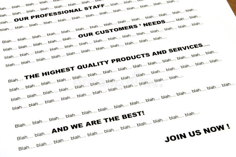Blah... blah... marketing letter - closeup. Closeup of boring marketing business letter, using standard sentences - between words blah blah blah stock images
