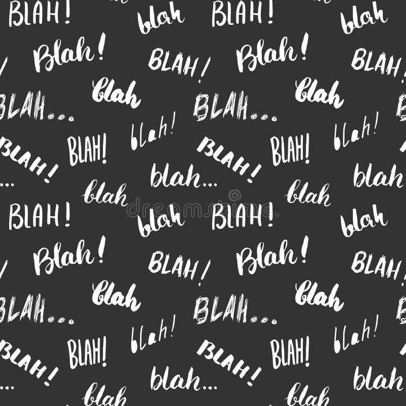 Blah, blah words hand written seamless pattern vector illustration background royalty free illustration