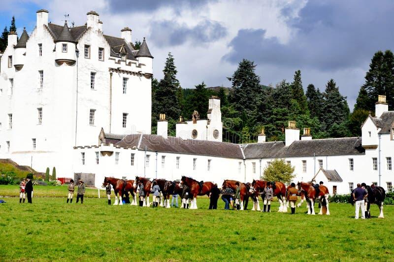 Blair Castle Horse Trials, Scotland. In August, Blair Castle in Scotland hosts a country fair with horse trials stock image