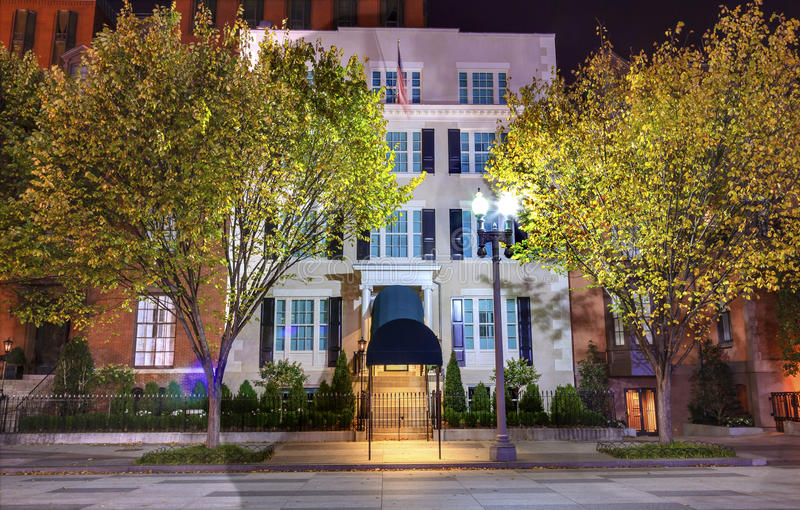 Blair House Building Second White-Haus-Nachtwashington dc lizenzfreie stockfotos