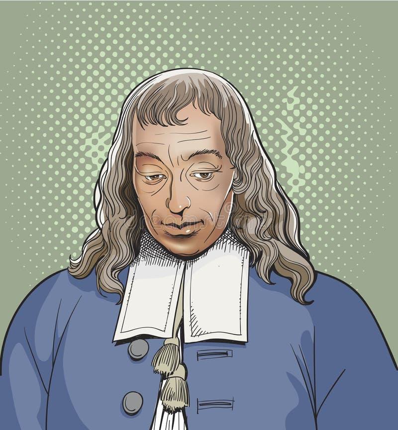 Blaise Pascal-het portret van de lijnkunst, vector vector illustratie
