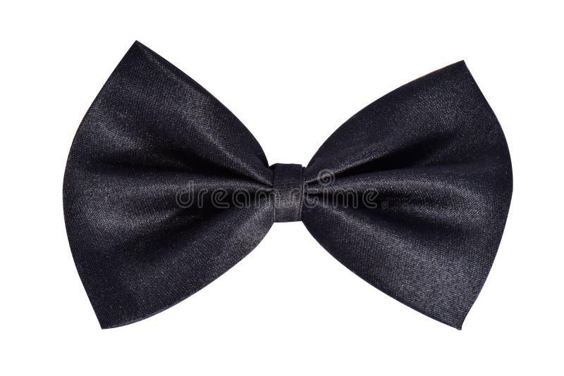 Blak缎蝴蝶领带或礼物弓 丝带 查出在白色 库存图片