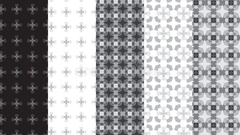 Blak και άσπρα και γκρίζα γεωμετρικά άνευ ραφής σχέδια κλιμάκων διανυσματική απεικόνιση