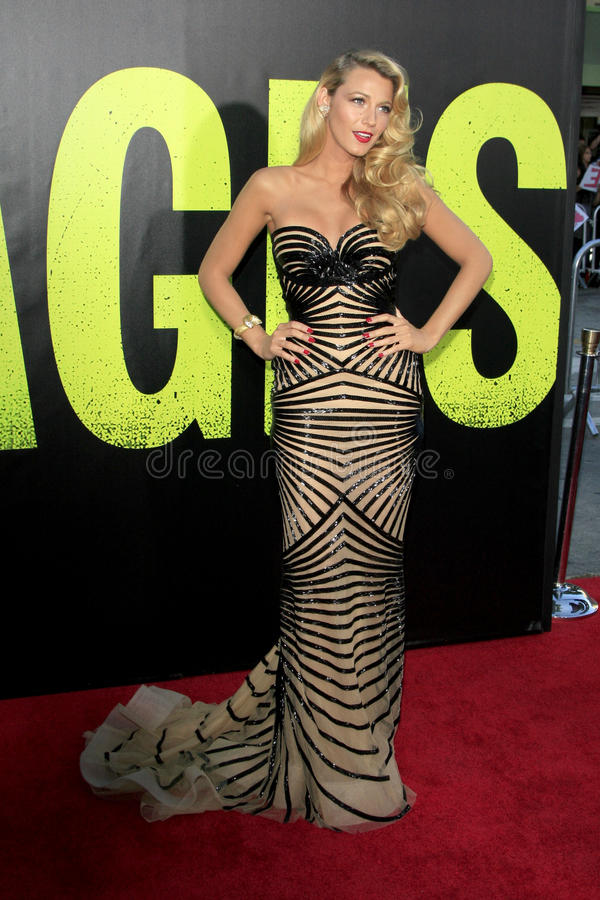 Blake Lively arrives at the. LOS ANGELES - JUN 25: Blake Lively arrives at the Savages Premiere at Village Theater on June 25, 2012 in Westwood, CA stock photo