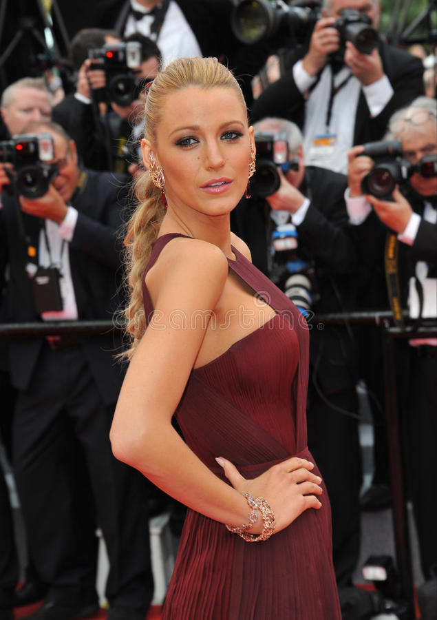 Blake Lively. CANNES, FRANCE - MAY 14, 2014: Blake Lively at the gala premiere of Grace of Monaco at the 67th Festival de Cannes royalty free stock photos