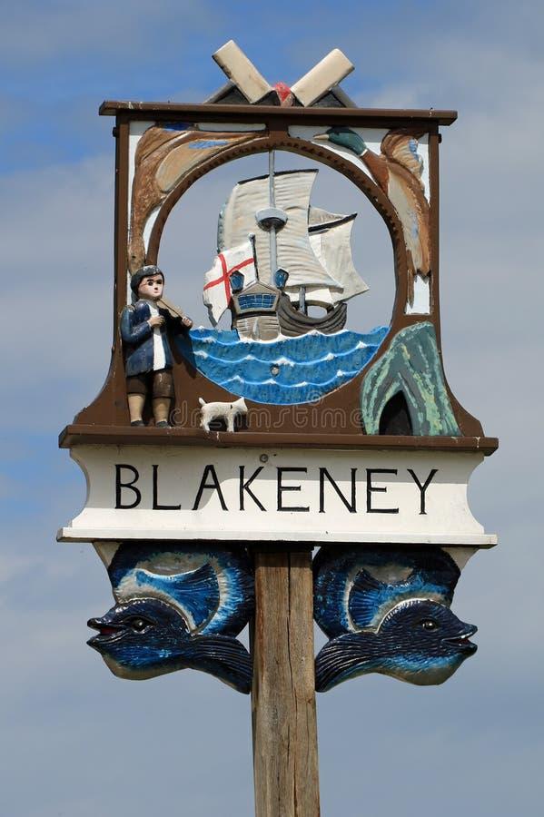 Blakeney村庄标志 库存图片