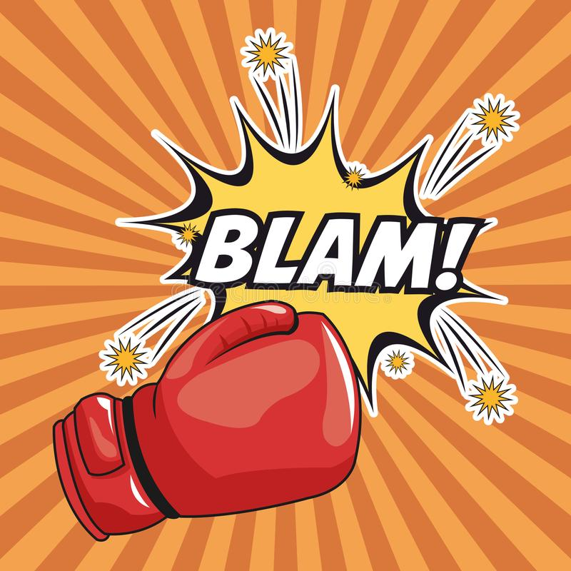 Blam explosion pop art comic design. Blam explosion glove boxing cartoon pop art comic retro communication icon. Colorful striped design. Vector illustration stock illustration