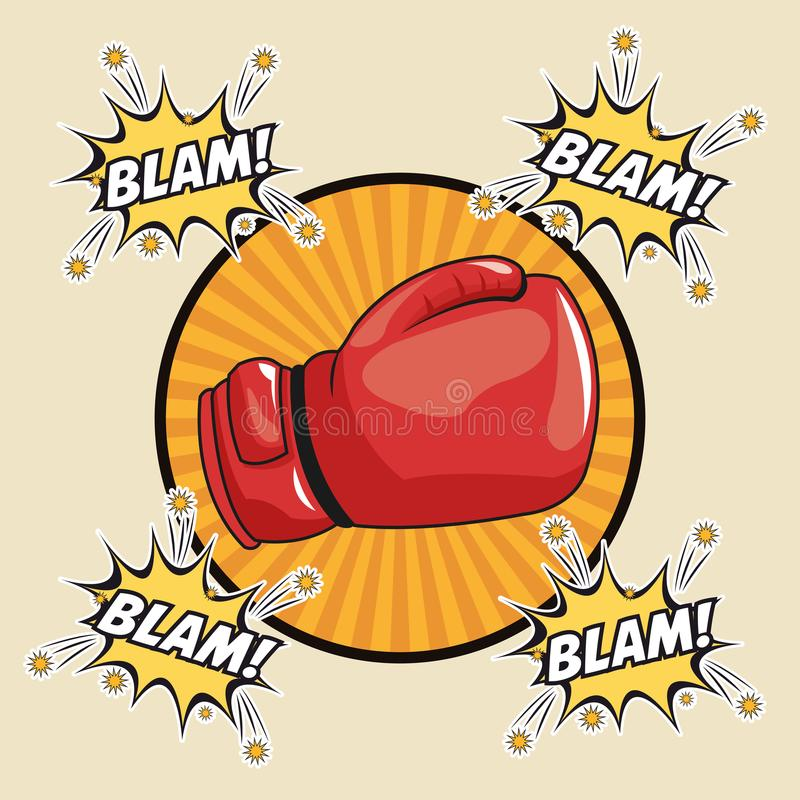 Blam explosion pop art comic design. Blam explosion glove boxing cartoon pop art comic retro communication icon. Colorful striped circle design. Vector vector illustration