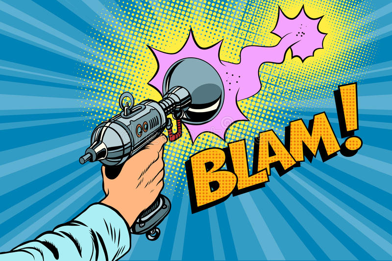 Blam Science fiction shot of a Blaster comic cloud. Vintage comics pop art retro color illustration vector illustration