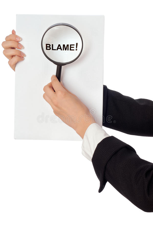 Blame. Procurator examines in details the inculpatory evidence reported by detective royalty free stock photos