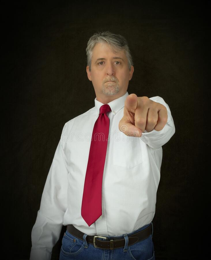 The blame game showing a man pointing right at you as if to say it is your fault not his royalty free stock images