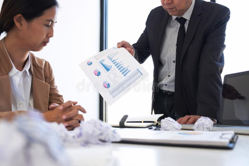 Blaming business concept, Senior executive manager blaming employee for mistake or failure, business team have disagreement in royalty free stock images