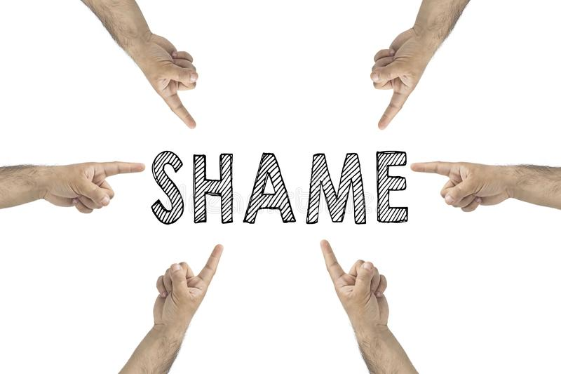 Blaming you. Online or Public Shaming concept. hands pointing to text: shame. stock photos
