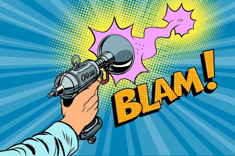Blamscience fiction van een Zandstraler grappige wolk die wordt geschoten vector illustratie