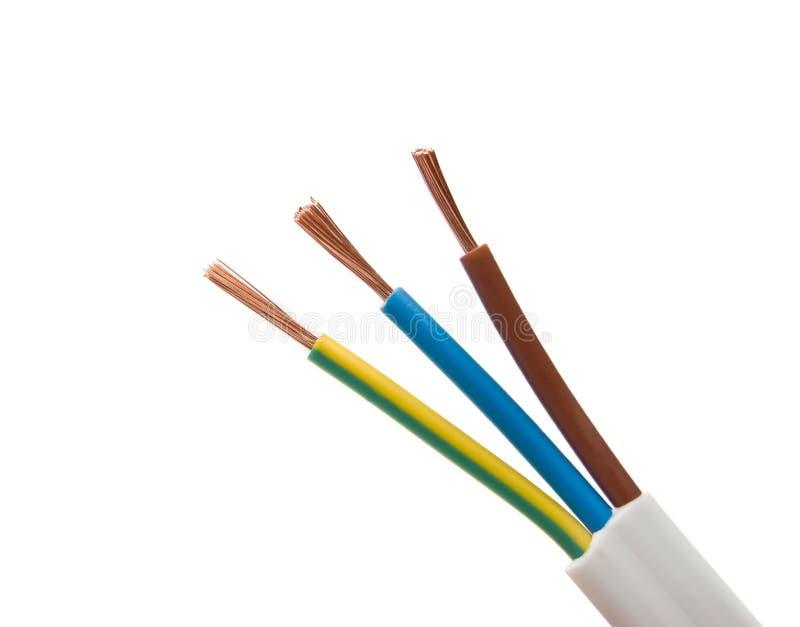 blanc électrique de câble de fond images stock