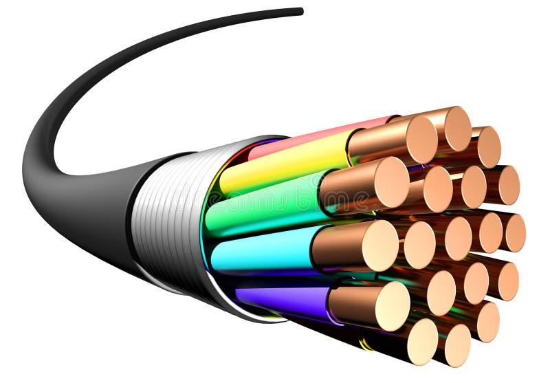 blanc électrique de câble de fond Plan rapproché illustration libre de droits