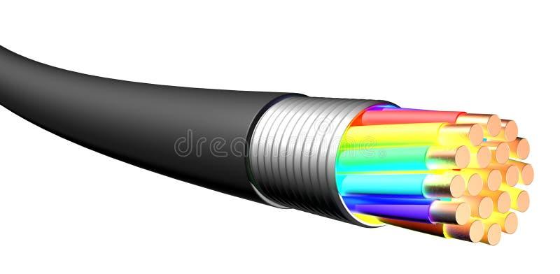 blanc électrique de câble de fond Plan rapproché photographie stock