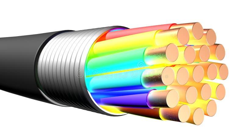 blanc électrique de câble de fond Plan rapproché illustration de vecteur