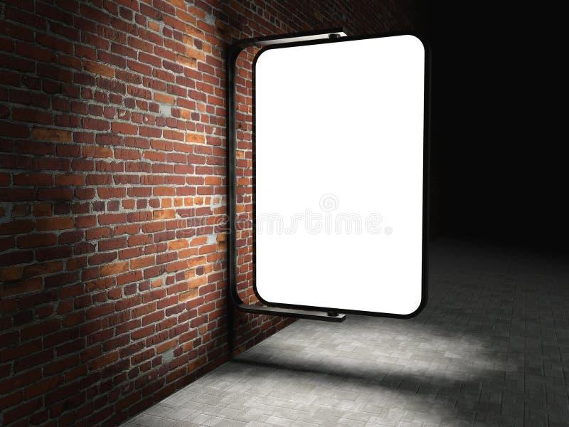 blanc 3d annonçant le panneau-réclame sur le mur de briques illustration libre de droits