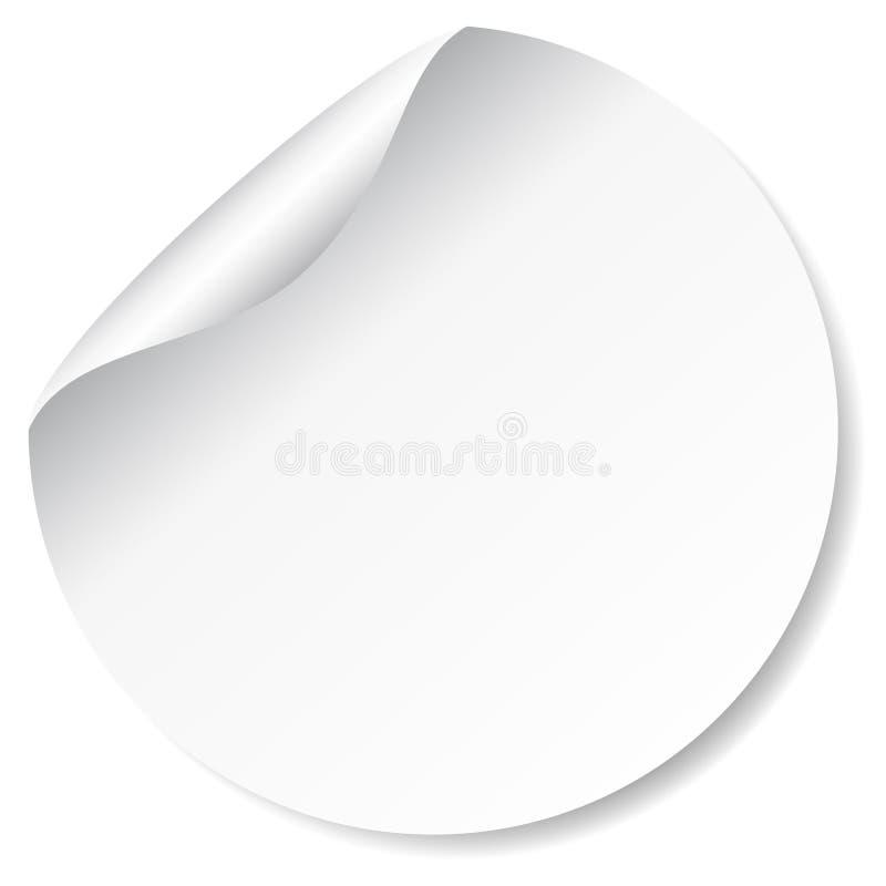 Blanc, autocollant promotionnel rond blanc illustration stock