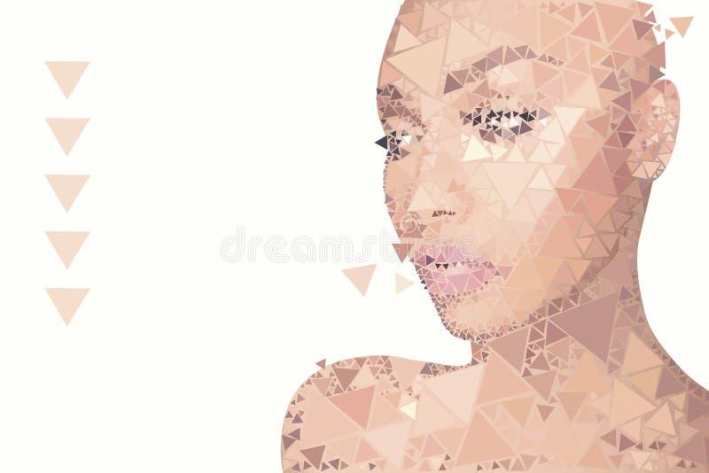 Blanc avec un portrait de vecteur d'une fille de la longueur de l'épaule avec la peau rose sensible, avec le maquillage, se comp illustration stock
