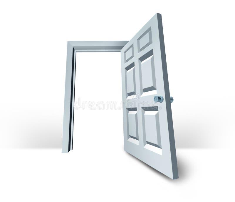 Blanc blanc de réussite de porte ouvert par trappe illustration stock